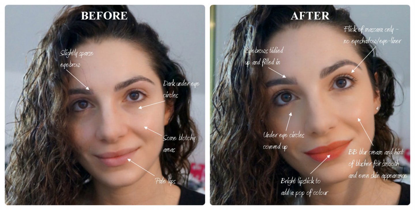 Daily make-up before and after
