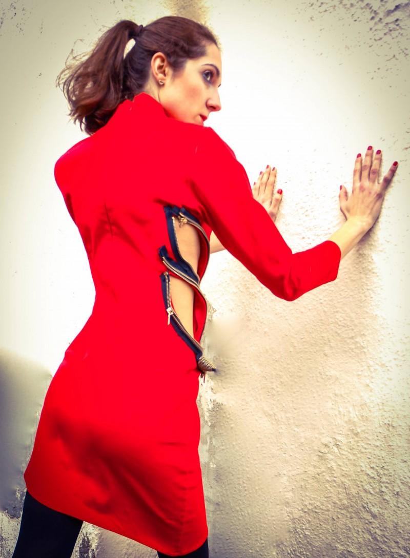 Christina Louca designs with Christiana Botziou red dress