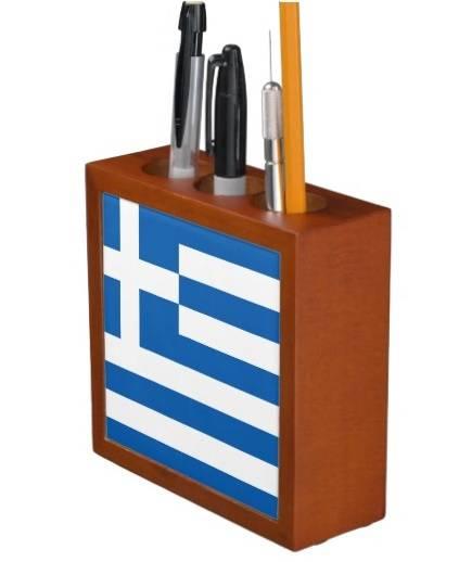 Greek flag desk organiser