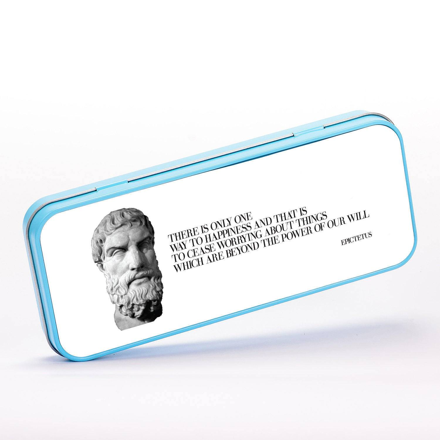There is Only Way to Happiness Quote Epictetus Ancient Greek Philosopher, Stationery Metal Tin, Personalised Stationery, ST106
